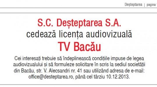 Premieră în televiziune: licență de emisie vândută prin mica publicitate